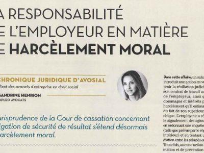 La responsabilité de l'employeur en matière de harcèlement moral