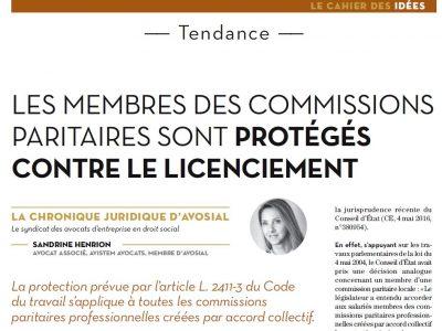 Les membres des commissions paritaires sont protégés contre le licenciement