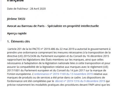 Publication d'une fiche pratique sur la demande en nullité de marque par Jérôme TASSI