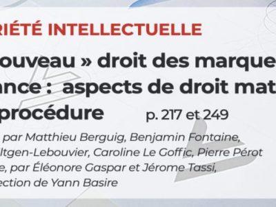 """Publication d'un dossier sur le """"nouveau droit des marques"""" dans la revue Legipresse d'avril 2020"""